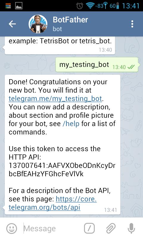 BotFather newbot 명령 2
