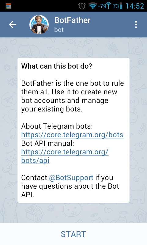 BotFather 채팅 화면
